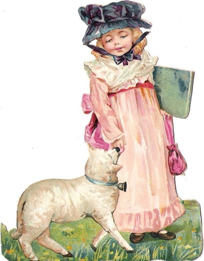 Oblaten Glanzbild scrap die cut chromo Kind child Lamm lamb
