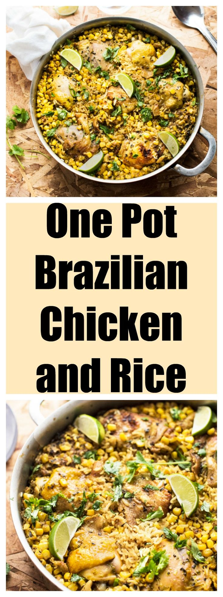 ONE POT BRAZILIAN CHICKEN AND RICE.  chicken thighs, 4tbsp oregano, 3tbsp oil, 1 garlic,  2 cups corn, 2½ cups rice, 2-3 cups chicken stock, 1tbsp turmeric, 1 lemon, parsley.