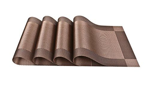 Placemats for Table Heat-resistant Arricastle Washable Stain-resistant Woven Vinyl Kitchen PVC Non-slip Insulation Placemat (Brown)