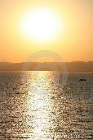 Lake Balaton with sundown in Hungary