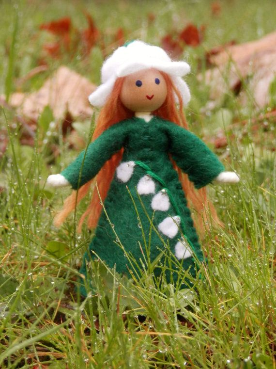 May Birthday Month Flower Doll - Lilly of the Valley - Handmade Miniature Waldorf Inspired Flower Fairy -Dollhouse Bendy Doll