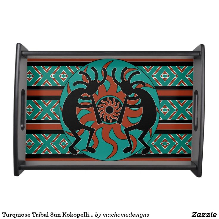 Turquiose Tribal Sun Kokopelli Southwestern Serving Trays