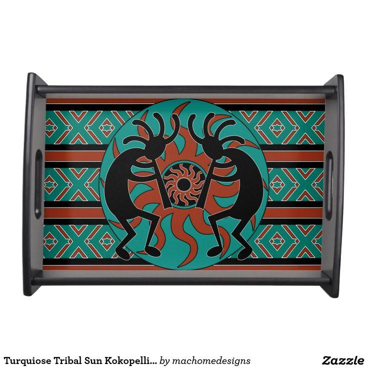 Turquiose Tribal Sun Kokopelli Southwestern Serving Trays