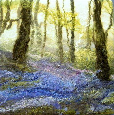 'Bluebells, Haughmond Woods II' Handmade Felt Painting : SOLD
