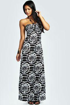 Mia Printed Beaded Necklace Maxi Dress