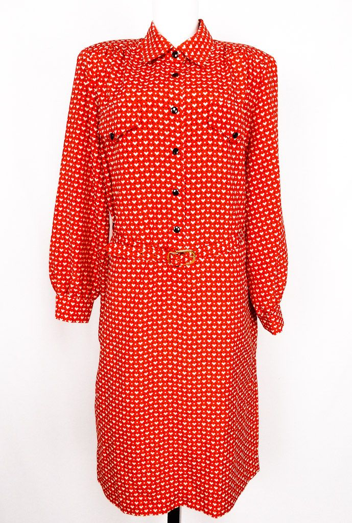 Vintage Red Patterned Dress