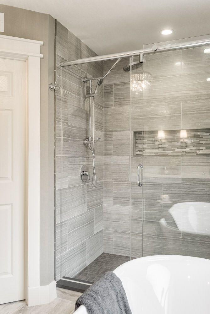 Interior Designer Remodel Of Master Bathroom Shower In Mixed Gray
