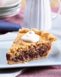 ... pie, Chocolate chip pecan. One of the few pies best served cold