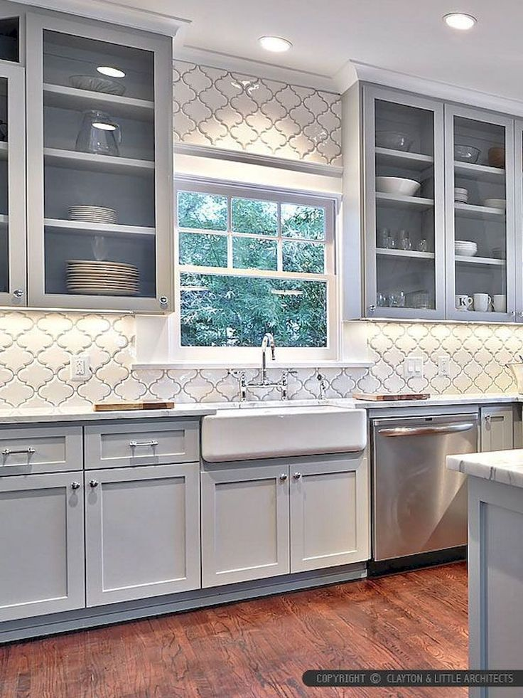Nice 60 Fancy Farmhouse Kitchen Backsplash Decor Ideas Roomadness Com Farmhouse Kitchen Backsplash Farmhouse Kitchen Cabinets Kitchen Design
