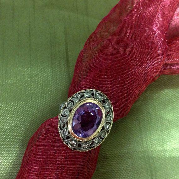 Georgian Period Amethyst and Diamond Ring by GeorgiePot on Etsy