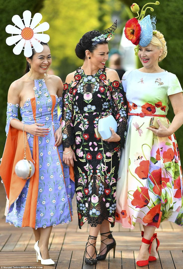 Hopefuls: Their competitors also arrived at Flemington Racecourse in their most outrageous, fashion forward and unique race day numbers