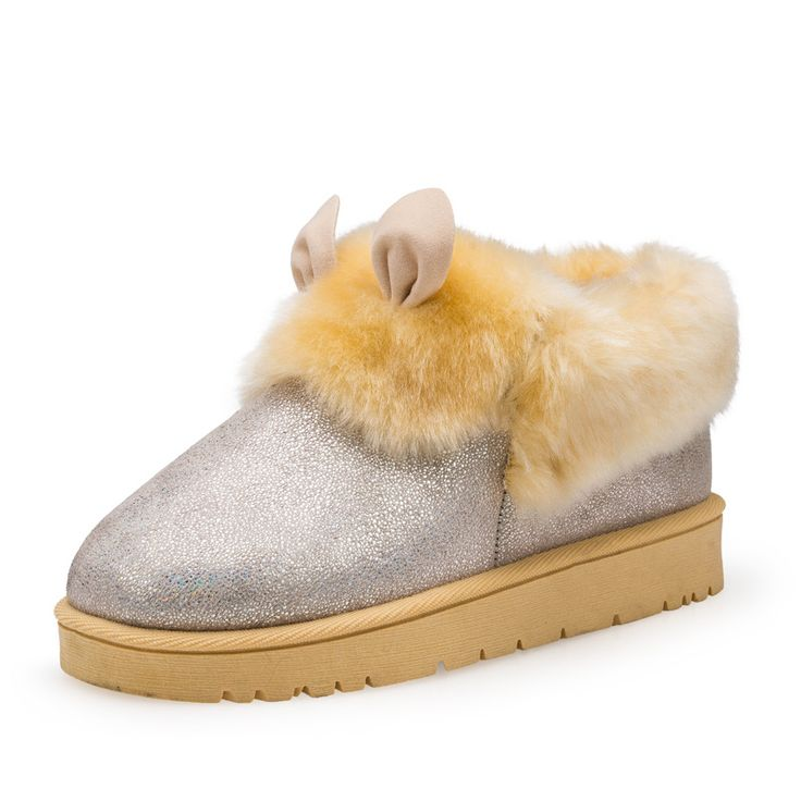 Womens Ankle Boots Winter Warm Snow Boots Fashion Female Low Round Cylinder Flange Shoes cute rabbit ears booties Calzado Mujer