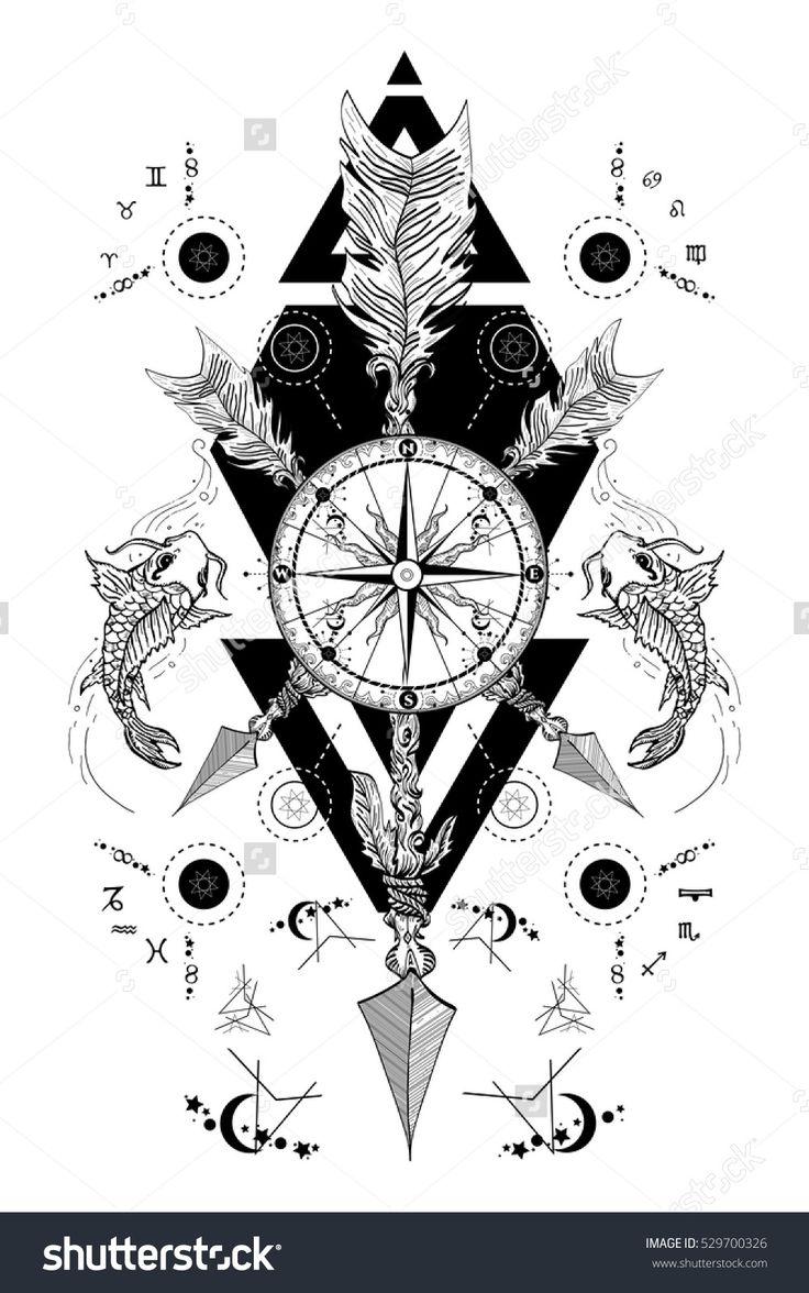 Medieval rose compass, carps and crossed arrows tattoo art. Boho style, adventure, travel. Magical symbols astrology, alchemy, meditation. Trbal tattoo.