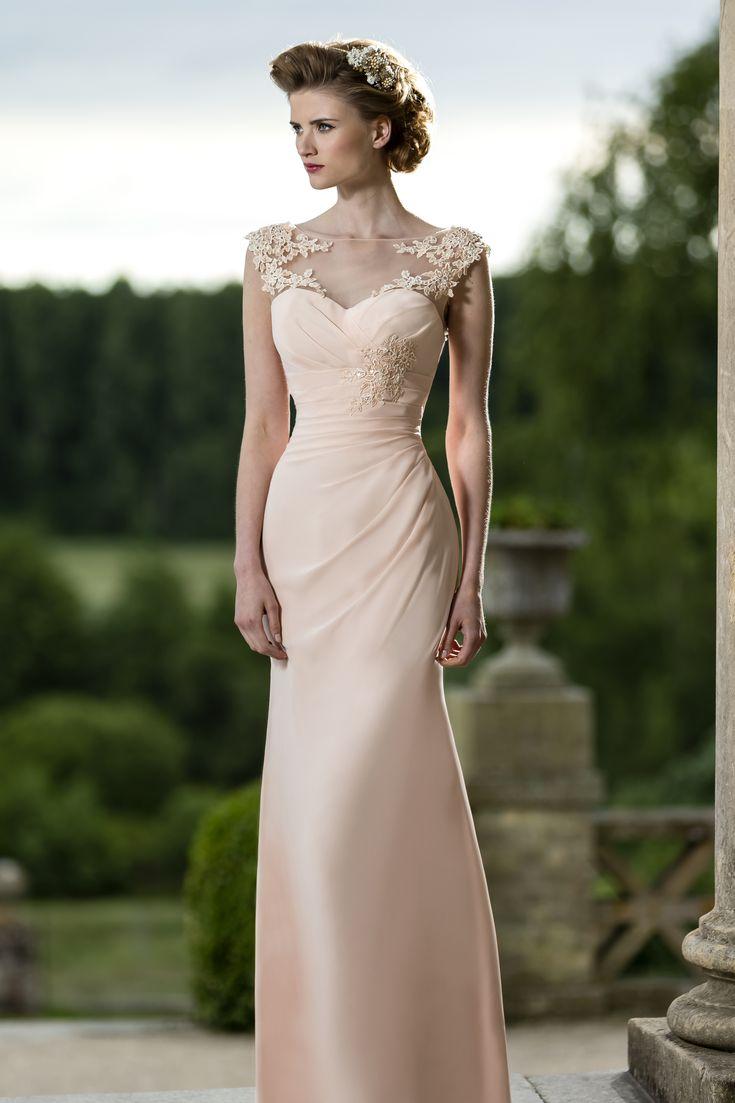 beautiful chiffon bridesmaid dress, love the sheer illusion neckline! M587 by True Bride 2015 collection #bridesmaiddress