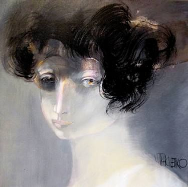 """Buy Phoebe, a Acrylic on Canvas by Victor Tkachenko from Canada. It portrays: Portrait, relevant to: smile, phoebe, cute, girl, grey, nude In ancient Greek religion, Phoebe (/ˈfiːbi/; Greek: Φοίβη Phoibe, associated with Phoebos or """"shining"""")' was one of the original Titans, who were one set of sons and daughters of Uranus and Gaia.[1] She was traditionally associated with the moon (see Selene)"""