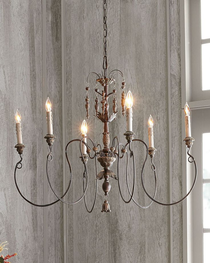 "Chandelier Type: Candle Style. Width: 32"" (measured from furthest point left to furthest point right on fixture). Watts Per Bulb: 60. Number of Tiers: 1. Number of Bulbs: 6. 
