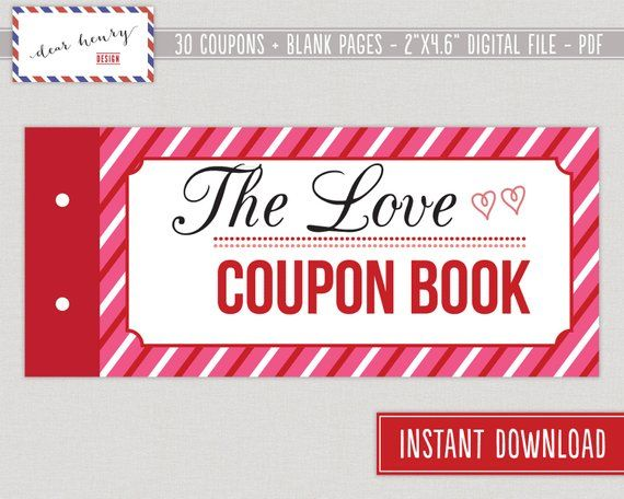 Love Coupons, Valentine's Day Coupon Book, Romantic Printable, Last Minute Gift or Present for Wife, Husband, Boyfriend, Girlfriend, Blank