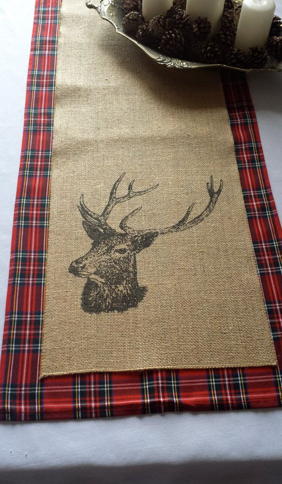 Stag burlap table runner perfect for by Littlewhiteboutique
