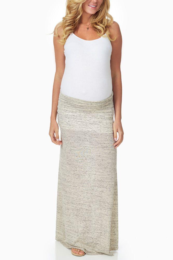 Beige-Heathered-Maternity-Maxi-Skirt #maternity #fashion
