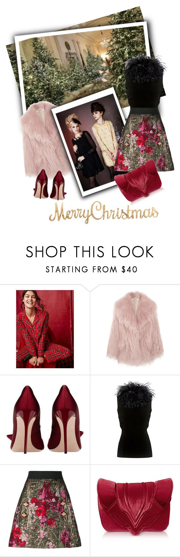 """Merry Christmas"" by tsma ❤ liked on Polyvore featuring Miiyu, Miu Miu, Topshop, Boutique Moschino, Dolce&Gabbana and Elena Ghisellini"