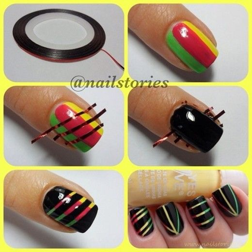 Nail design With Scotch Tape
