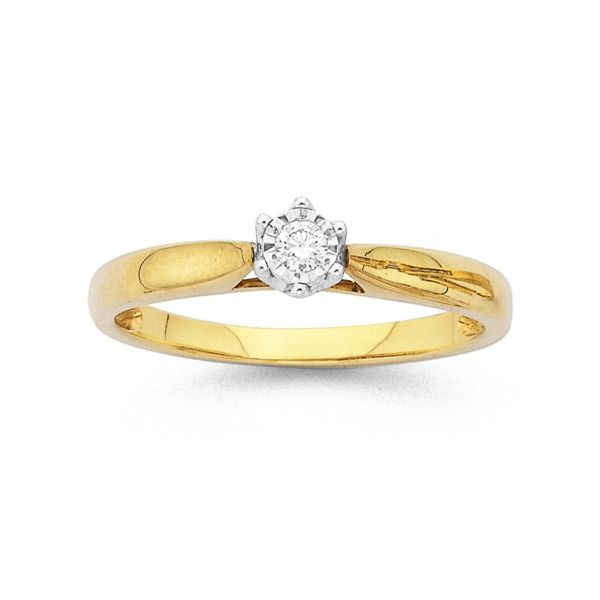 9ct Two Tone Diamond Solitaire Engagement Ring