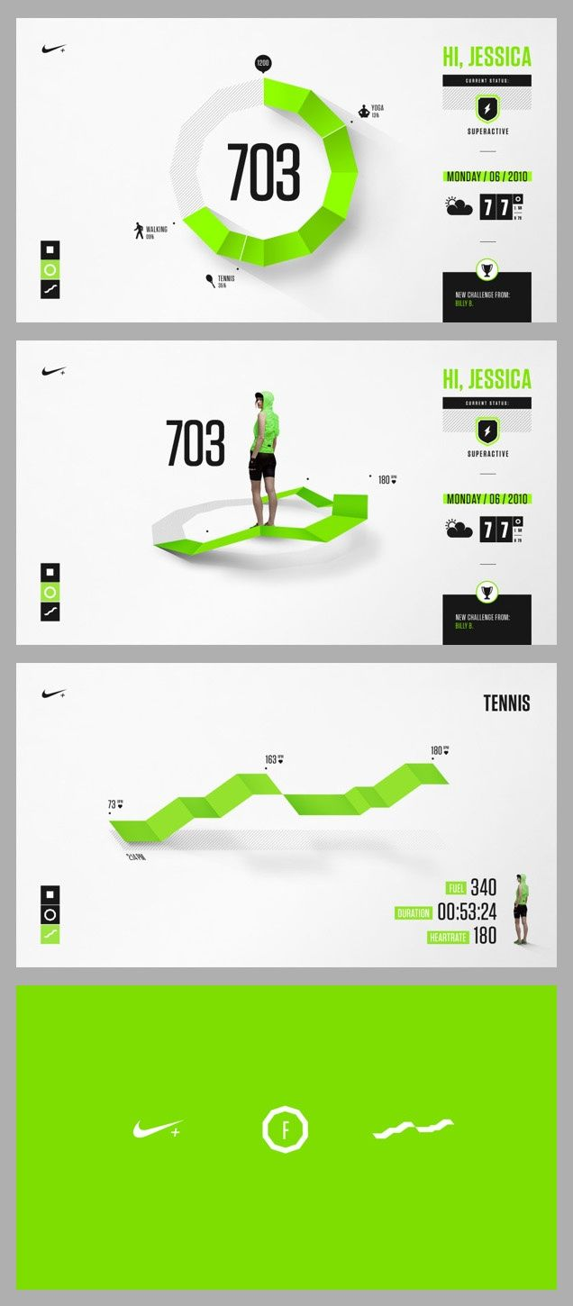 A nice proof that flat design is never really flat. Nike Fuel Design Exploration | Designer: Brantley Barefoot