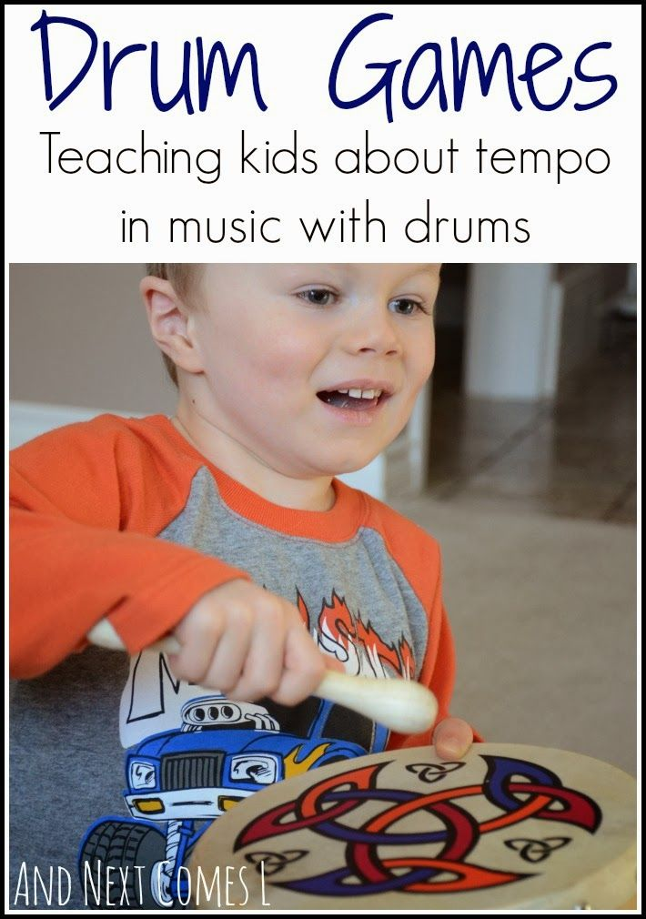 Drum games for kids - a great way to teach kids about tempo in music and get them moving from And Next Comes L