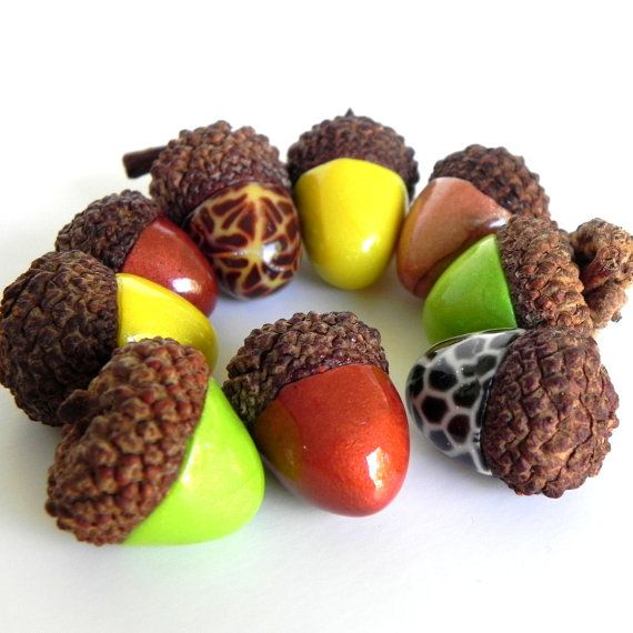 Acorn Decorations Made With Polymer Clay