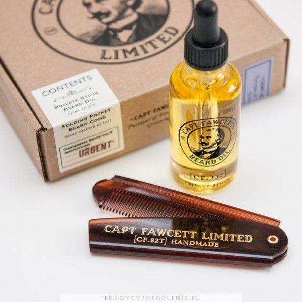 Zestaw składający się z olejku do brody Captain Fawcett's 50ml oraz kieszonkowego składanego grzebienia do brody. Długość grzebienia po rozłożeniu: 193 mm.
