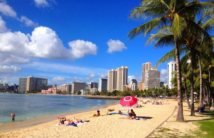 Waikiki - you can see The Royal Hawaiian (The Pink Palace). It is our favourite place to stay when on Oahu. It IS paradise.