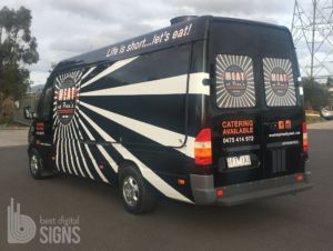 Full visual impact without requiring the expense of a full vehicle wrap.    Meat at Pete's Food Truck included the removal of existing graphics and the installation of printed and computer cut 3M vinyl.