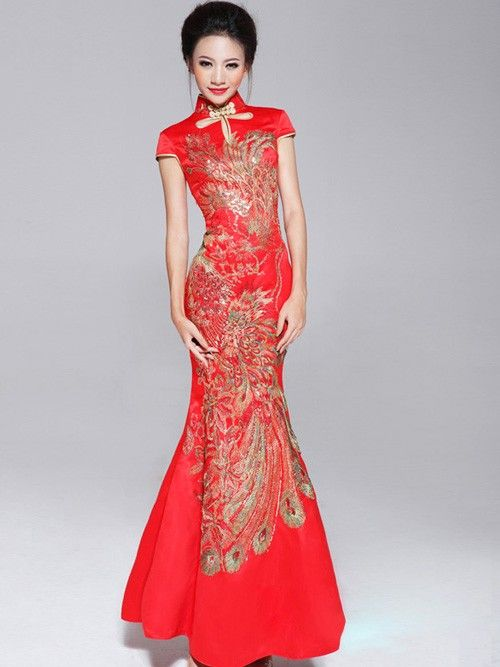 Red ankle length phoenix cheongsam qipao chinese for Asian red wedding dresses