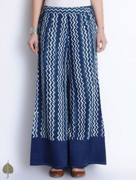 Natural Indigo-Ivory Bagru Printed Pintuck Detailed Elasticated Waist Cotton Palazzos by Jaypore