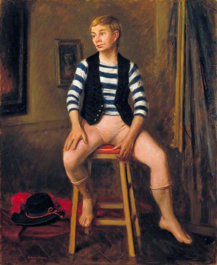 Lindsay Kemp (b.1938), Between the Acts, 1962 by Robert John Swan (British 1888–1980)....Lindsay Kemp is a British dancer, actor, teacher, mime artist and choreographer.....among his pupils in mime was a certain David Bowie...