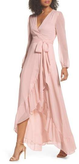 8cb9ee4abb9 WAYF Meryl Long Sleeve Wrap Maxi Dress
