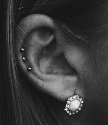 Simple Triple Studs Cartilage Piercing Jewelry at MyBodiArt