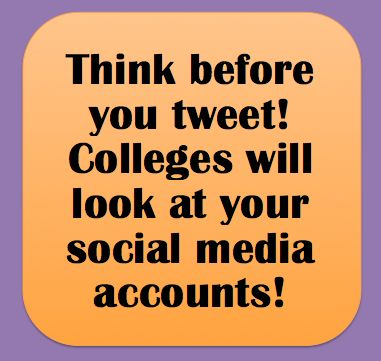 Think before you tweet! College admissions will look at your social media accounts. Use them to boost your resume, not get you waitlisted. ----- Need help with college admissions? HugSpeak can help you develop a strong application through resume assistance, interview coaching, social media strategy and more! www.HugSpeak.com