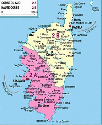 Map of Corsica. My grandparents' house is situated at Porto Vecchio, at the south east of ...
