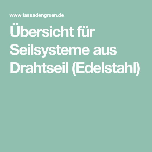 Übersicht für Seilsysteme aus Drahtseil (Edelstahl)