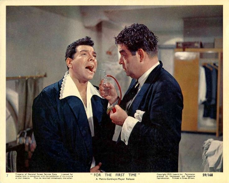 """Mario Lanza and Kurt Kasznar - Lobby card for Rudolph Matè's """"For the First Time"""" (1959)."""