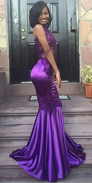 Sexy Halter Mermaid Purple Evening Gown Appliques Lace Open Back Sleeveless Prom Dress , Meet Dresses