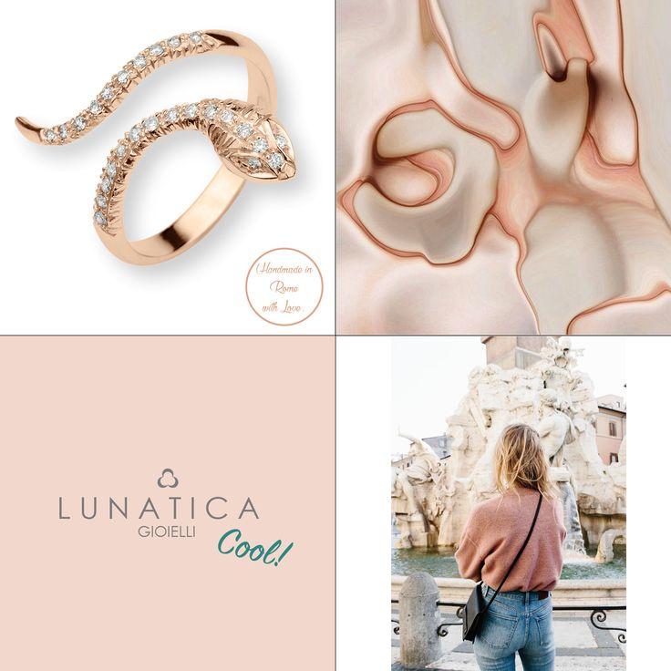 #cool #lunaticagioielli #roma #rome #italy #handmade #handcraft #madeinitaly #snake #pinkgold #jewellery #fun #mood #mooodboard #inspire #inspiration #italian #brand #new #jewelry #precious #rose #diamonds