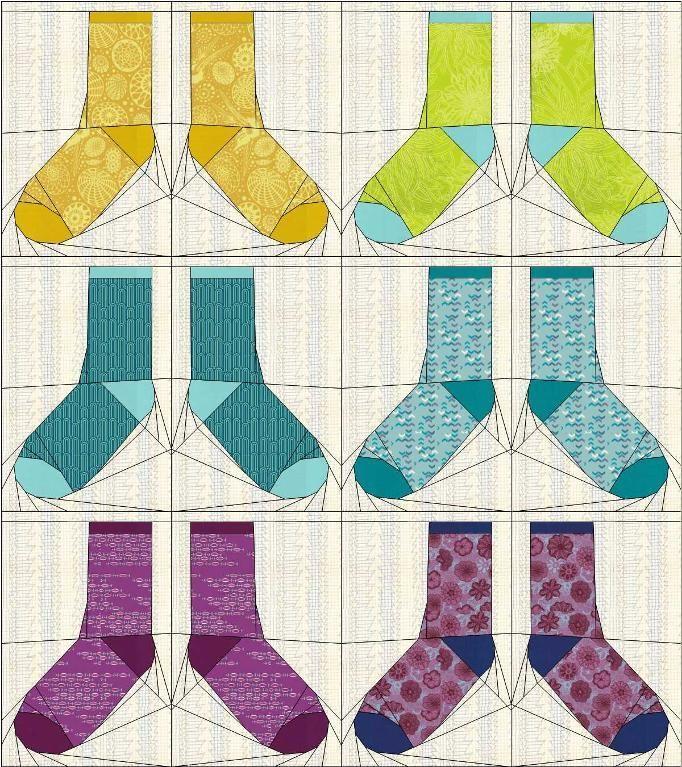 Odd Socks paper pieced pattern by Tartan Kiwi