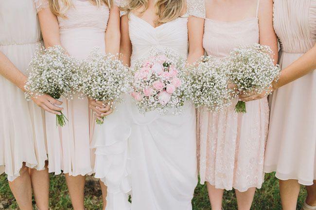 2014 Wedding Trends | Baby's Breath | Blush + Nude Tones | Blush Bridesmaid Dresses + Baby's Breath Bridesmaid Bouquets