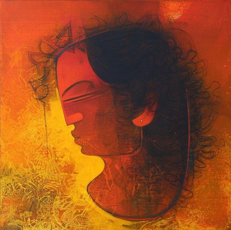 Amol Pawar Women in Profile II MixedMedia Canvas Paintings