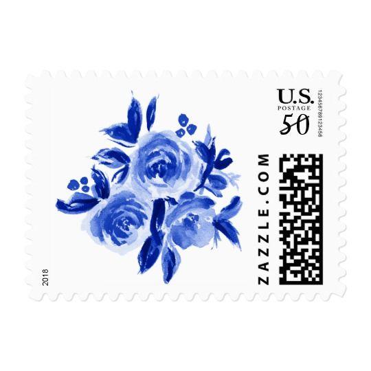 Royal Blue Floral Watercolor Wedding Stamps   Zazzle com