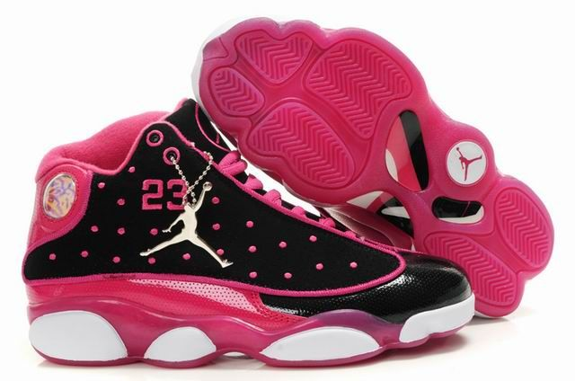 Wholesale Priced  Nice Womens Air Jordan 13 Black Pink White Sport Shoes