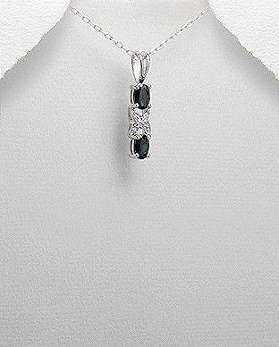 Pandantiv fin argint cu diamante si safire negre