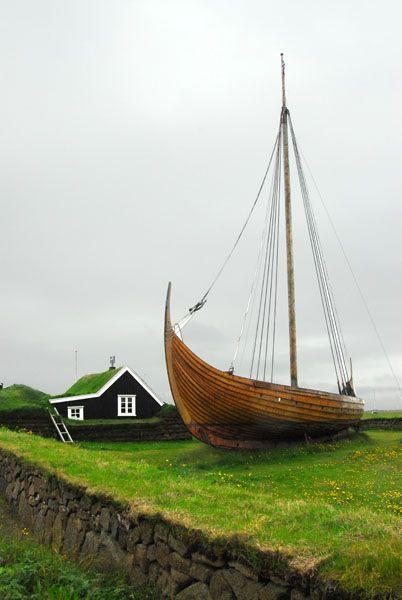 Viking ship Íslendingur at Stekkjarkot, a reconstruction of an 1100 year old design, Njarðvík